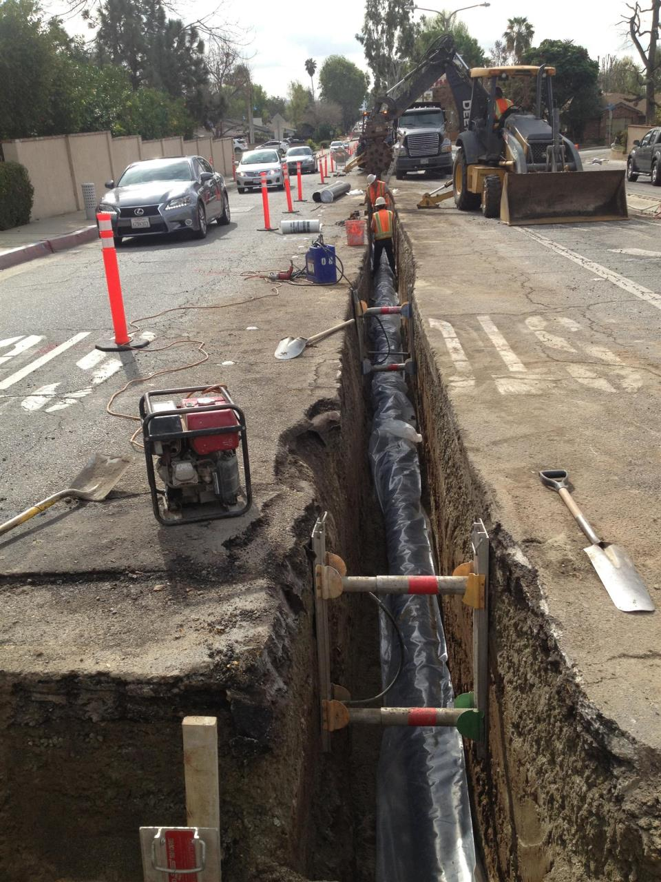 CIP 8-inch water main replacement in Base Line Avenue