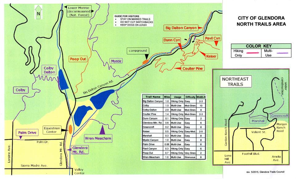Big Dalton Wilderness Trail Map - North Trail Map