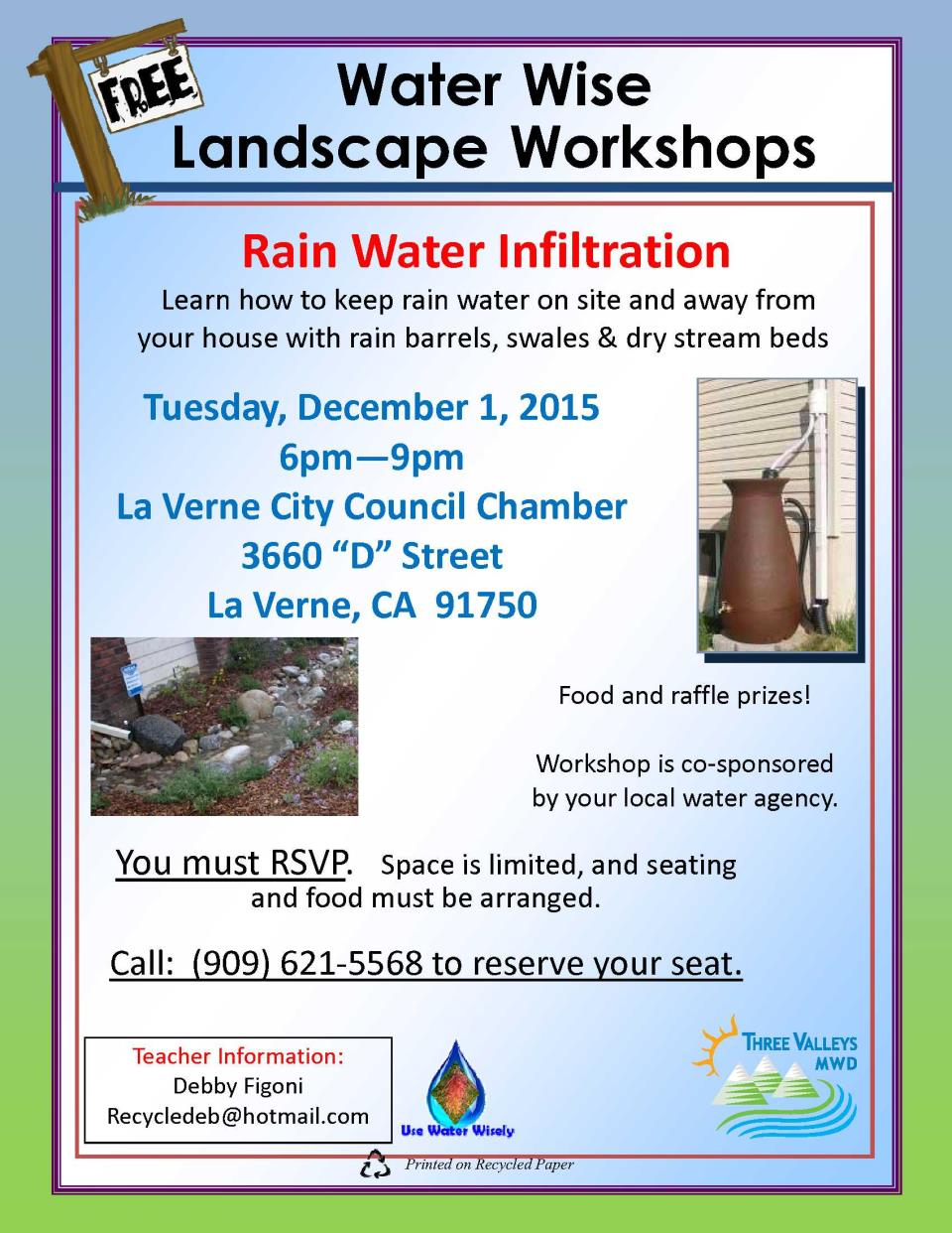 Glendora Residents Invited to Attend Free Water Wise Event