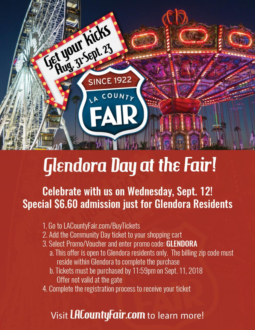 2018 Glendora Day At The Fair Tickets