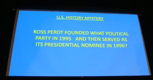 A trivia question on screen at the Great Trivia Challenge